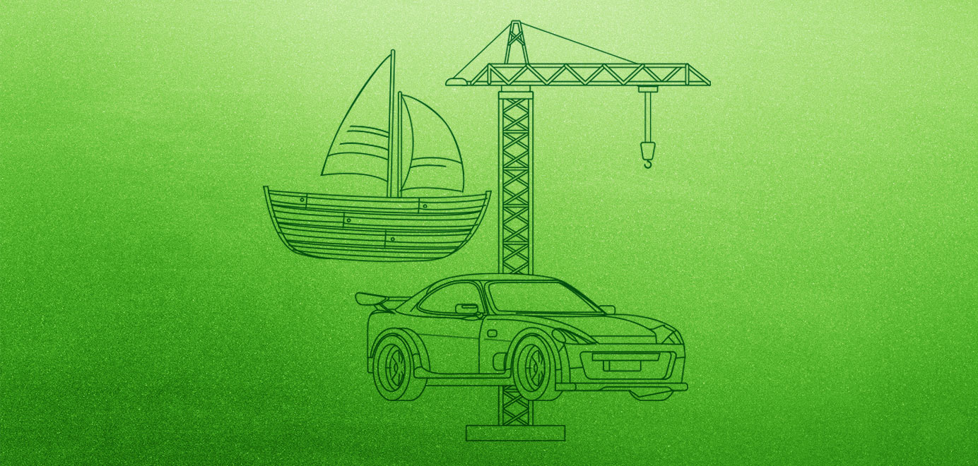 Car, boat and crane outline on green background. Programs for Scouts - Girl Scouts Mechanical Engineering Workshop