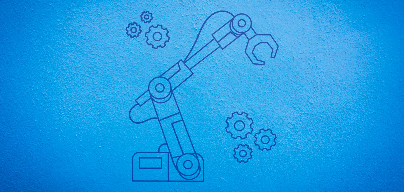 Outline of crane and gears on blue background. Programs for Scouts - Scouts BSA Robotics Workshop